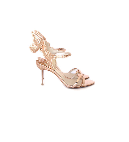 Chiara Mid-Heel Wing Embroidered Rose Gold Leather Sandals