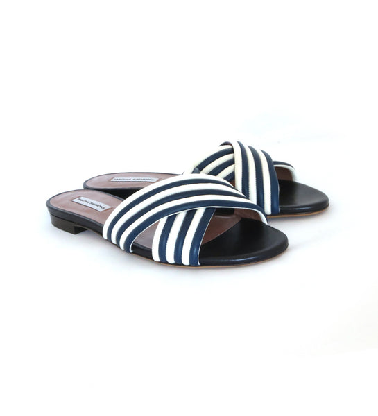 Lassie Slide - Navy/white