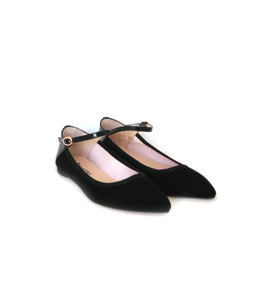 Clemence - black suede/patent
