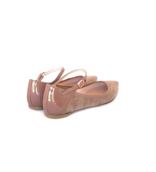 Clemence - pink suede/patent
