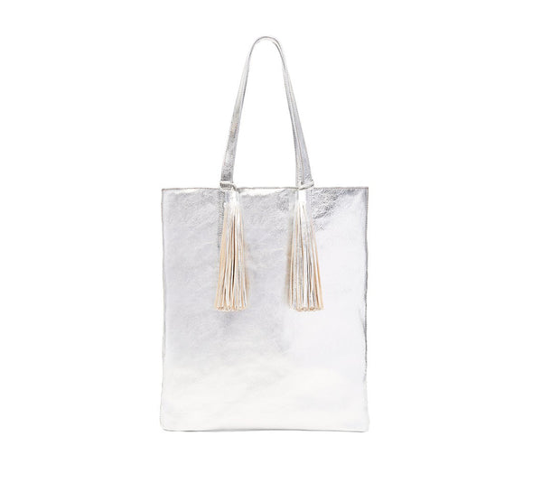 Cruise Tote (Goat/Tassel), silver, one size