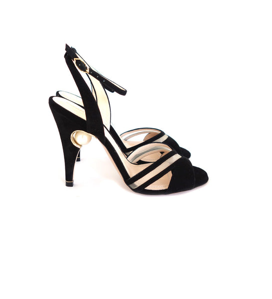 105mm Penelope Pearl Cross-strap Black Suede Sandal