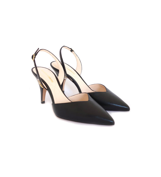85mm Penelope Pearl Slingback Pump - Black