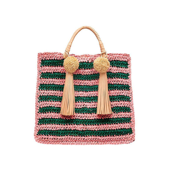Straw Travel Tote (Raffia Pom/Tassel), rainbow, one size