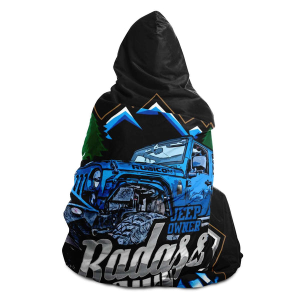 Hooded Blanket - Badass Lady Jeep Owner - Blue Rubi