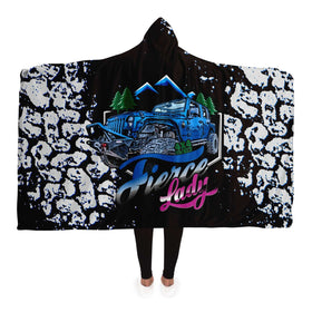 Hooded Blanket - Fierce Lady 4X4 Owner - Blue Rubi With Mud Tracks