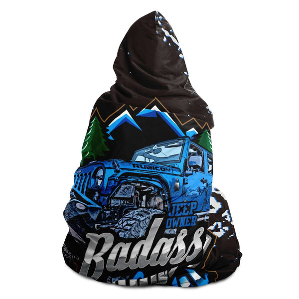Hooded Blanket - Badass Lady Jeep Owner - Blue Rubi With Mud Tracks