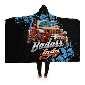 Hooded Blanket - Badass Lady Jeep Owner - Orange Rubi With Mud Tracks