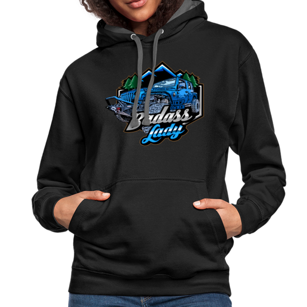 Contrast Hoodie - Badass Lady Jeep Owner - Blue Design - black/asphalt