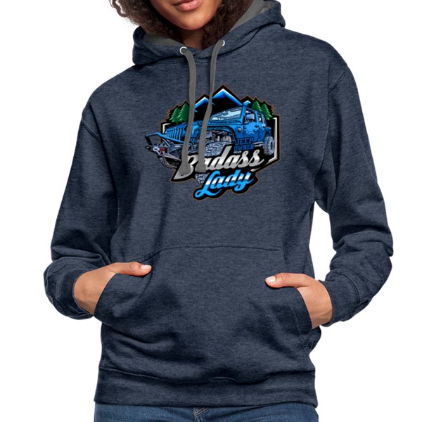 Contrast Hoodie - Badass Lady Jeep Owner - Blue Design - indigo heather/asphalt