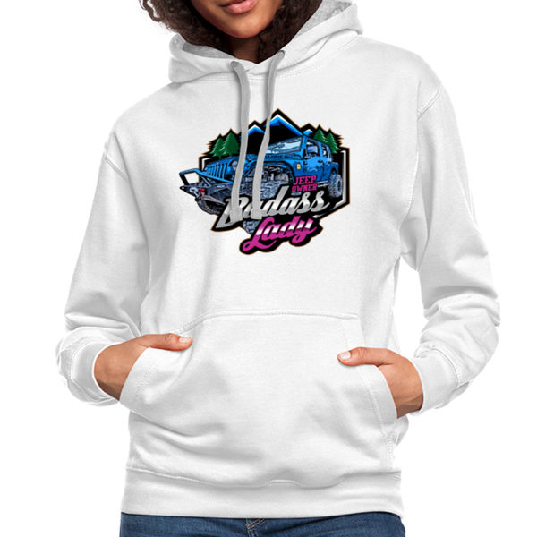 Contrast Hoodie - Badass Lady Jeep Owner - Pink Design - white/gray