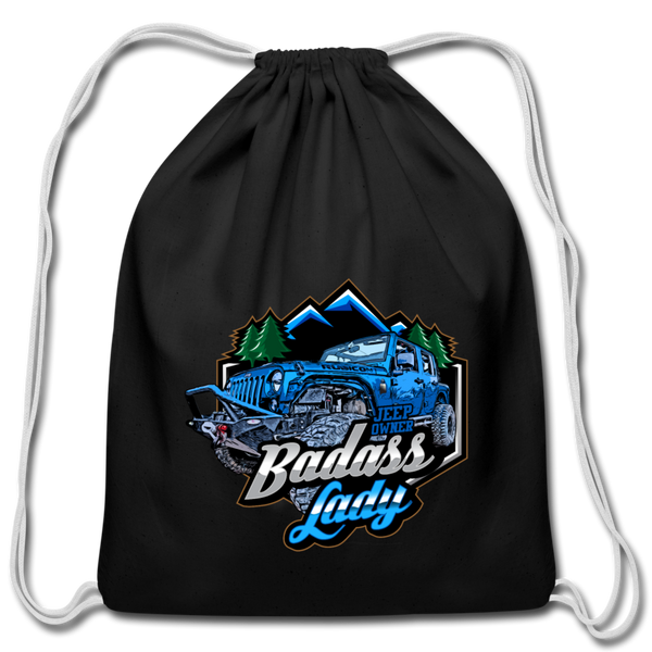 Cotton Drawstring Bag - Bad Ass Lady Jeep Owners - Blue-Blue - black
