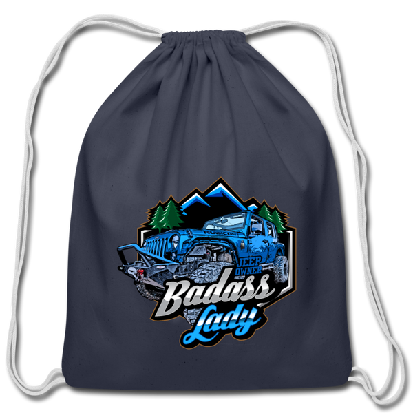 Cotton Drawstring Bag - Bad Ass Lady Jeep Owners - Blue-Blue - navy