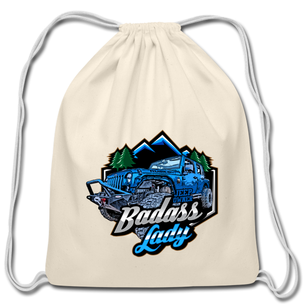 Cotton Drawstring Bag - Bad Ass Lady Jeep Owners - Blue-Blue - natural