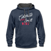 Contrast Hoodie - Celebrate Your Small Wins White-Red - indigo heather/asphalt