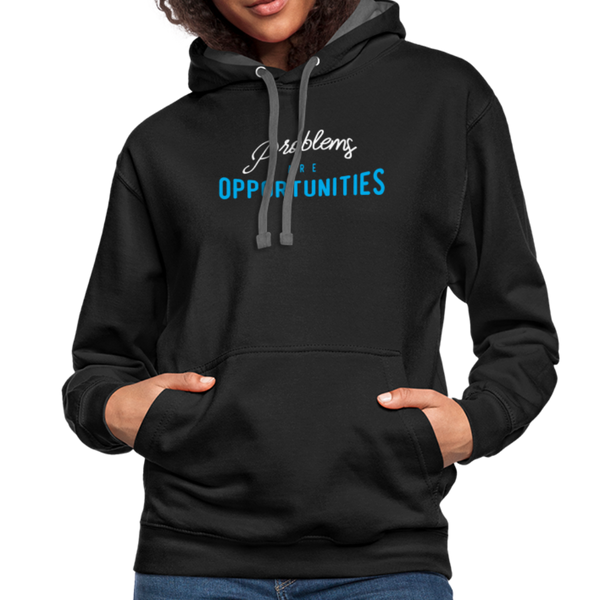 Contrast Hoodie - Problems Are Opportunities White-Blue - black/asphalt