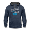 Contrast Hoodie - Celebrate Your Small Wins White-Blue - indigo heather/asphalt