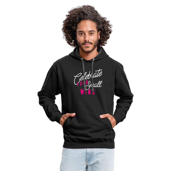 Contrast Hoodie - Celebrate Your Small Wins White-Pink - black/asphalt