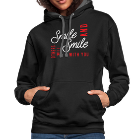 Contrast Hoodie - Smile And Others Will Smile With You White-Red