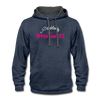 Contrast Hoodie - Problems Are Opportunities White-Pink - indigo heather/asphalt