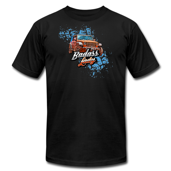 Unisex Jersey T-Shirt - Badass Lady Jeep Owner (Orange Jeep) - black