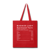 Tote Bag - Badass Lady Nutritional Info - red