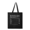 Tote Bag - Badass Lady Nutritional Info - black