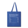 Tote Bag - Badass Lady Nutritional Info - royal blue