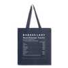 Tote Bag - Badass Lady Nutritional Info - navy