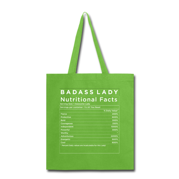 Tote Bag - Badass Lady Nutritional Info - lime green