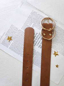 Gold Hoop Belt- Brown