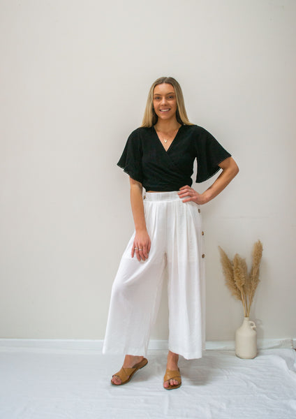Wide Leg Linen Pants- white