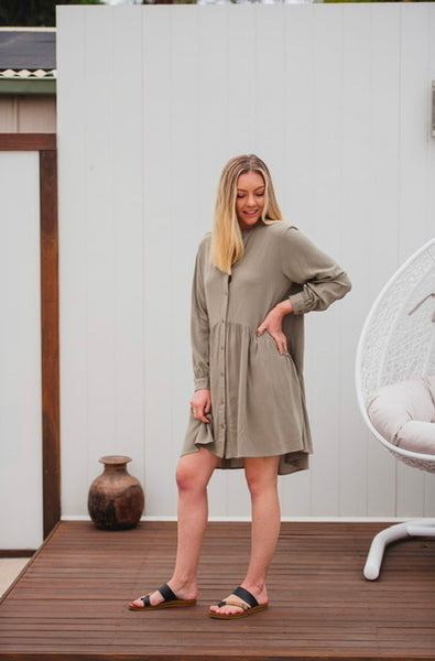 Dream Button Down Dress- Khaki