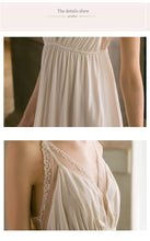 Load image into Gallery viewer, Sexy Modal V-neck White Lace Nightgowns Women's