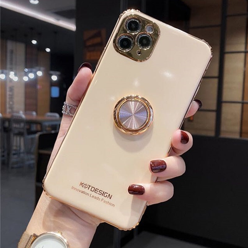 3D Opal Ring buckle support soft phone case