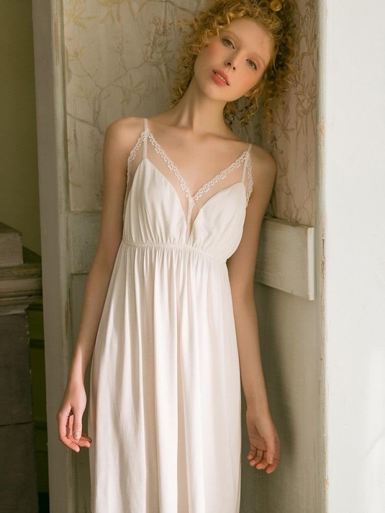 Sexy Modal V-neck White Lace Nightgowns Women's