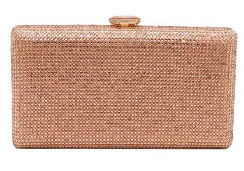 Champagne coloured diamante encrusted acrylic evening clutch
