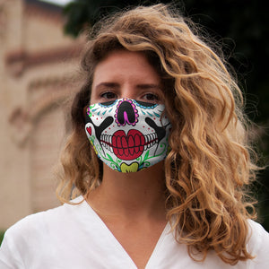 Buy Online Cool & Trendy Silver Shamrock Snug Fit Calavera (Sugar Skull) 2 Face Mask - Silver Shamrock