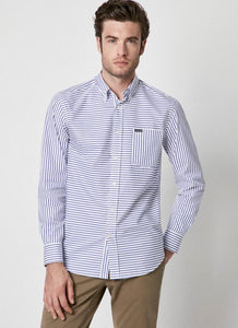 Façonnable Strip Indigo Long Sleeve Shirt