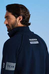 Marina Militare, Sailing Team Buttoned Mock Turtleneck
