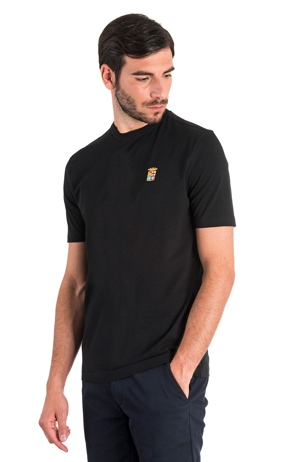 Marina Militare,Black Basic T-Shirt With A Round Neck
