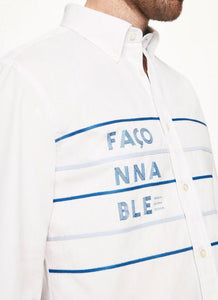 Façonnable Embroidered Cotton Poplin Shirt