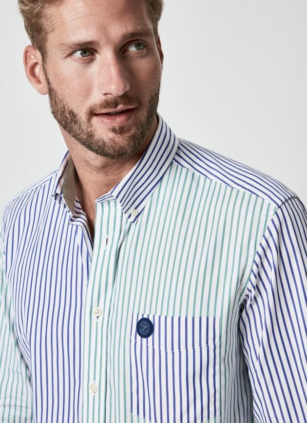 Façonnable Striped Poplin Casual Color Shirt