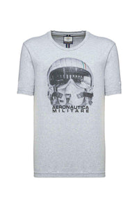 Aeronautica Militaire, Jersey Cotton T-shirt With a Modern Print of the Pilot Helmets.