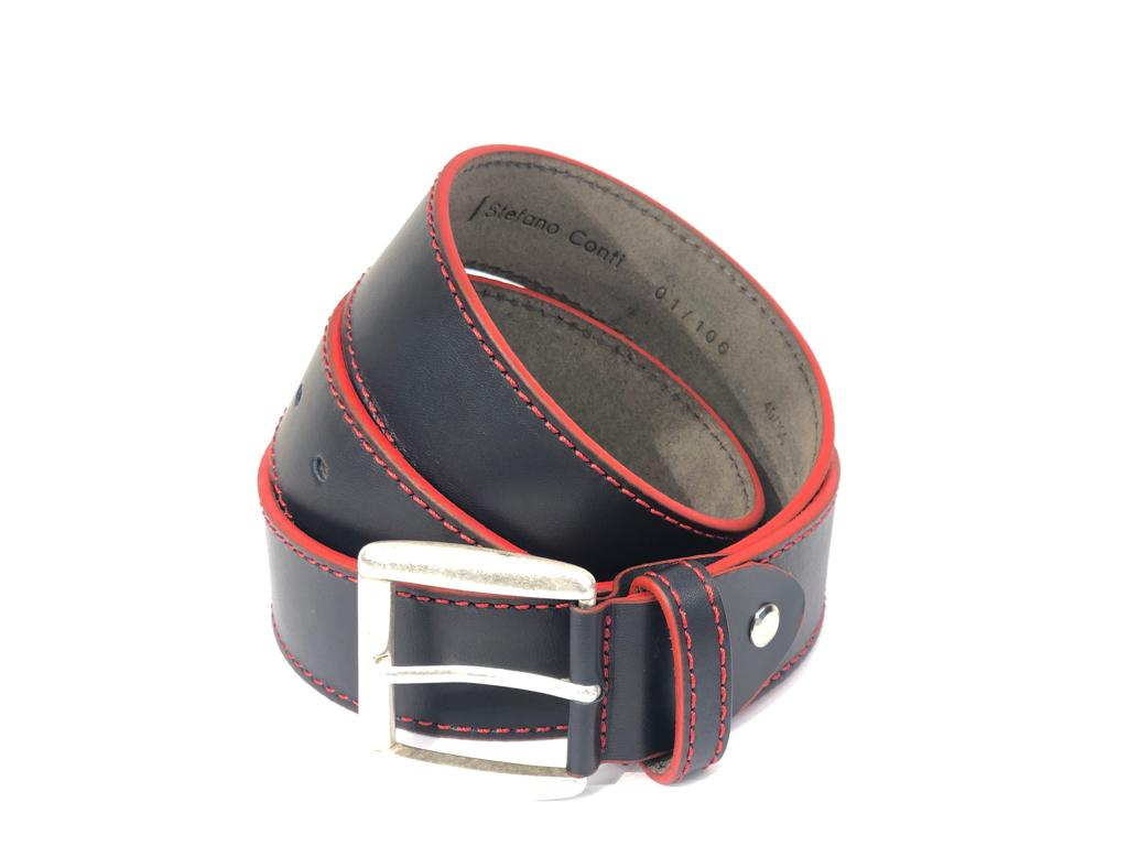 Stefano Conti, Navy and Red Leather Belt