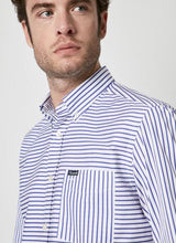 Load image into Gallery viewer, Façonnable Strip Indigo Long Sleeve Shirt