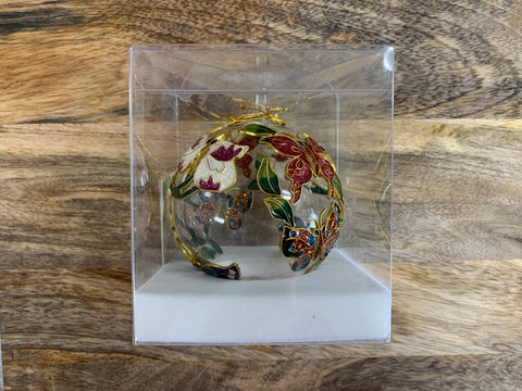 Christmas Butterfly Ornate Glass Bauble