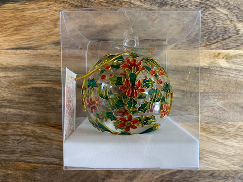 Christmas Red Flower and Holly Ornate Glass Bauble
