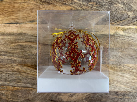 Christmas Red Pattern  Ornate Glass Bauble