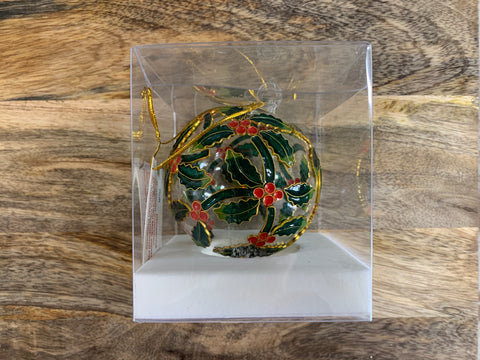 Christmas Large Holly Ornate Glass Bauble